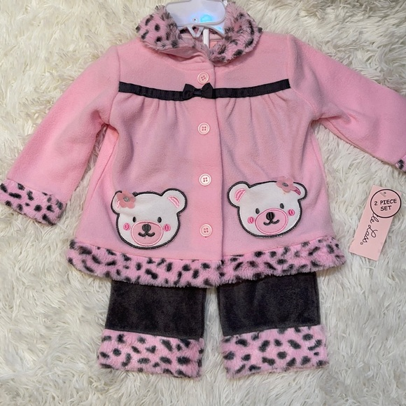 NWT! Little Lass Pink Bear Outfit (2pc) 6/9 mo